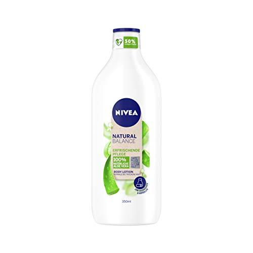 NIVEA Natural Balance Aloe Vera Body Lotion (350 ml), Lotion mit 100 % natürlicher Aloe Vera, Körpercreme spendet 48h intensive Feuchtigkeit