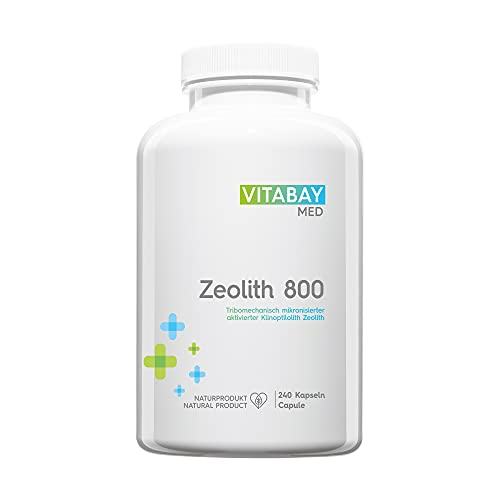 Vitabay Zeolith 800 • 240 Kapseln • Über 90% Klinoptilith • Tribomechanisch mikronisiert und aktiviert • Pharmaqualität