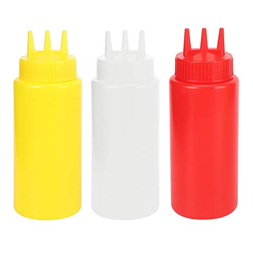 Knijpfles, 3-delige 3-gaats knijpflacon met fles voor deksel voor slasauzen Ketchup Sauzenfles Ketchupfles