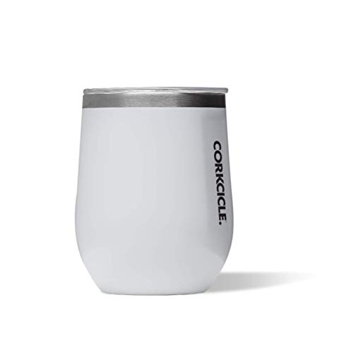 Corkcicle 12 oz Triple-Insulated Stemless (Perfect for Wine), Gloss White