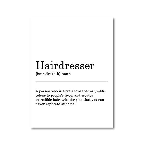 N / A Hairdresser definition print poster, black and white typography minimalist canvas painting fun gift barber shop wall art frameless decorative canvas painting A11 30x40cm