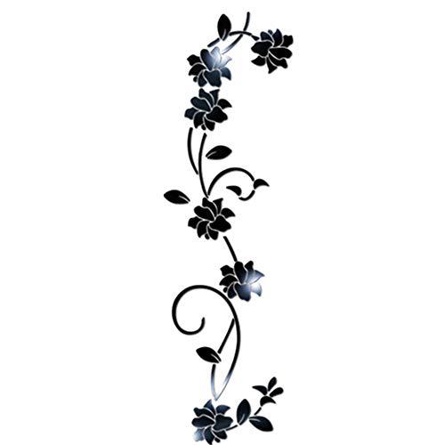 Kuizhiren1 Wandaufkleber für die Küche, 3D DIY Acryl, Spiegeleffekt, Blumen-Ranke Schwarz