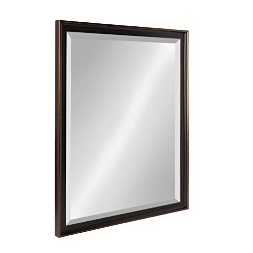 Kate and Laurel Havana 24.5x30.5 Framed Beveled Wall Mirror, Oil Rubbed -