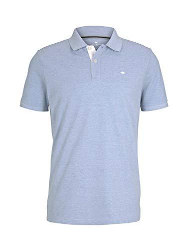TOM TAILOR Herren 1016502 Logo Polohemd, 26724-Dusk Blue White Melangé, XL