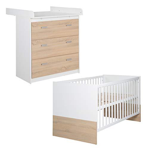 roba Bett Wickelkommoden Kombination 'Gabriella', bestehend aus Kombi Kinderbett 70 x 140 cm, schmaler Wickelkommode