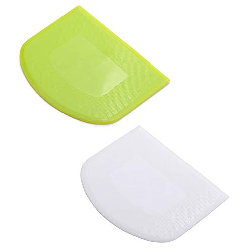 lasenersm 2 Pieces Dough Scraper Bowl Scraper Food-safe Plastic Dough Cutter Flexible Plastic Scraper Bench Scraper Multipurpose Food Scrappers for Bread Dough Cake Fondant Icing, White, Green