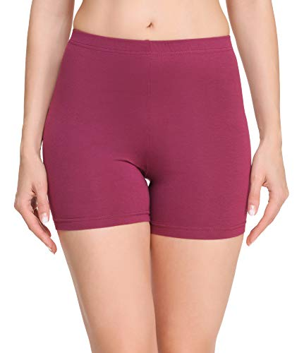 Merry Style Damen Shorts Radlerhose Unterhose Hotpants Kurze Hose Boxershorts aus Baumwolle MS10-392 (Weinrot, XXL)