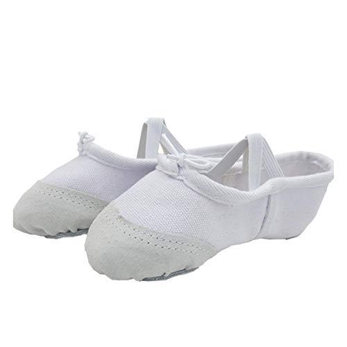 Blanco Baile Latino Danza Moderna Ballet Zapatos de Baile para niños Zapatos de Suela Suave Hombres y Mujeres Zapatos de Ejercicio Zapatos de Lona para Yoga-Blanco_35