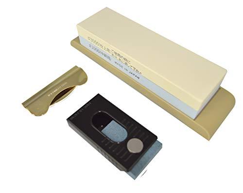Kit d'Affûtage Suehiro 3 Pièces - Pierre à Aiguiser 1000/3000 + Guide Affûteur + Effaceur d'oxydation
