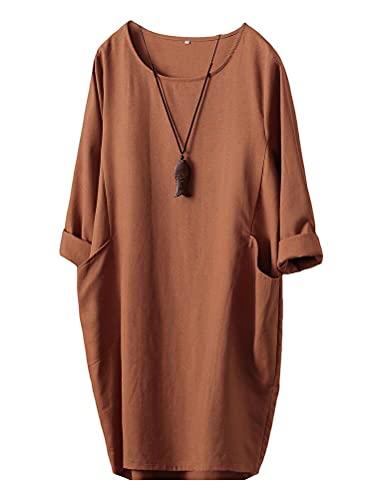 FTCayanz Damen T-Shirt Tunika Kleid Langes Leinenkleider Elegant Langarm Blusenkleid Mini Kleider Orange XL