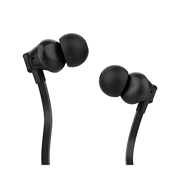 Earbuds, Vogek Tangle-Free Flat Cord Ergonomic in-Ear Headphones with Dynamic Crystal Clear Sound, Earphones with 3.5mm Jack, S/M/L Eartips Compatible with Samsung, Android Phone and More-Black