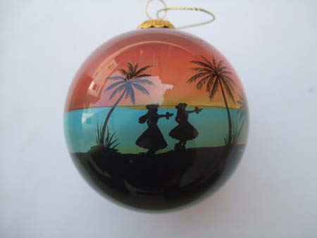 Hand Painted Glass Christmas Ornament - Sunset w/ Hula Dancers & Palm Trees Hawaii
