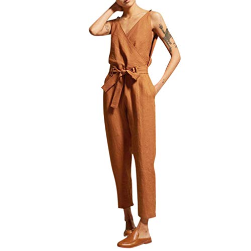 MOTOCO Damen V-Ausschnitt Jumpsuit Sling Fliege trägerlos große lose Jumpsuit(3XL,Orange)