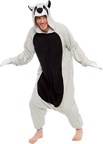 Silver Lilly Unisex Erwachsene Schlafanzug – Plüsch Einteiler Cosplay Tier Waschbär Kostüm - mehrfarbig - X-Large