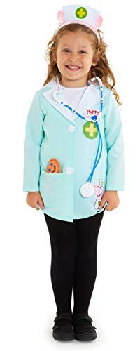 Peppa Pig Disfraz Niña, Disfraces Niña Niño de Veterinaria Incluye Bata y Estetoscopio Juguete, Regalos Originales para Niñas y Niños Edad 3-5 Años (4 Años)