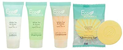 Eco Botanics Shampoo, Conditioner & Lotion with Bar Soap Set | 1-Shoppe All-In-Kit Amenities & Travel Size Toiletries | 20 Shampoo | 20 Conditioner | 20 Lotion | 50 Cleansing Bar