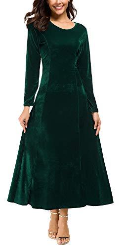 Urban CoCo Women's Elegant Long Sleeve Ruched Velvet Stretchy Long Dress (S, Green)