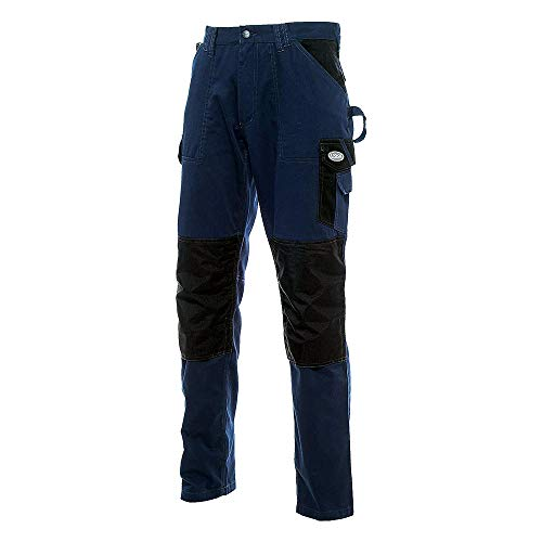 LOGICA SLIM1 Pantalone Cotone Nero Blu 240GR/MQ ANTISTRAPPO Traspirante Tasche PORTAOGGETTI Ginocchiere Cordura EDILIZIA Antinfortunistica DPI Abbigliamento Lavoro Cargo Multitasche (L)