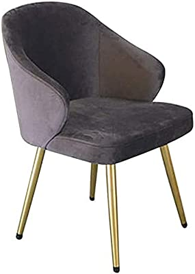 VEESYV Velvet Dining Chair Living Room Lounge Chair with Metal Legs Velvet Seat and Backrests for Living Room Bedroom Kitchen (Color : Grey)