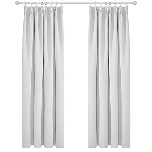 Deconovo Cortina Opaca de Salón Moderna Aislante Luz Dormitorio Juvenvil con Bolsillos 1 Par 140 x 245 cm Gris Blanco