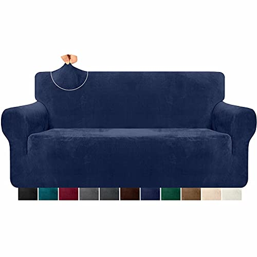 Granbest 1 Piece High Stretch Velvet Sofa Cover for 3 Seater Couch Luxury Thick Plush Couch Cover Form Fit Sofa Slipcover Washable Furniture Protector with Anti Slipping Stick (3 Seater, Navy Blue)