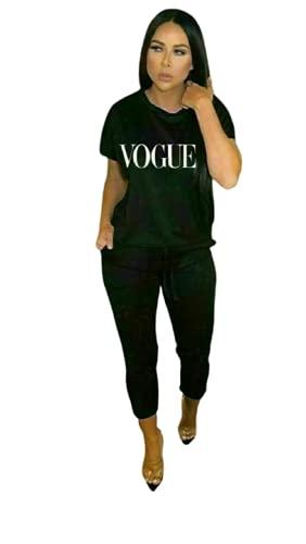 New Women Ladies Vogue Print Short Sleeve Baggy Top Bottoms 2 Pcs Co Ord Set Boxy Loungewear Tracksuit S Black