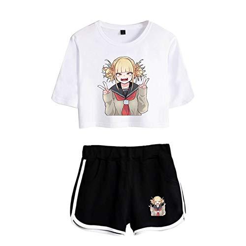 Kewing Himiko Toga Boku No Hero Academia Crop Top Camiseta Pantalones Cortos Traje Conjuntos Deportivos de porristas Anime Disfraz de Halloween