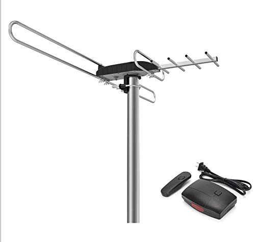 TV Antenna, 1byone Amplified Outdoor Digital HDTV Antenna 85-100 Miles Range with VHF/UHF Signal, Built-in High Gain and Low Noise Amplifier, Mounting Pole