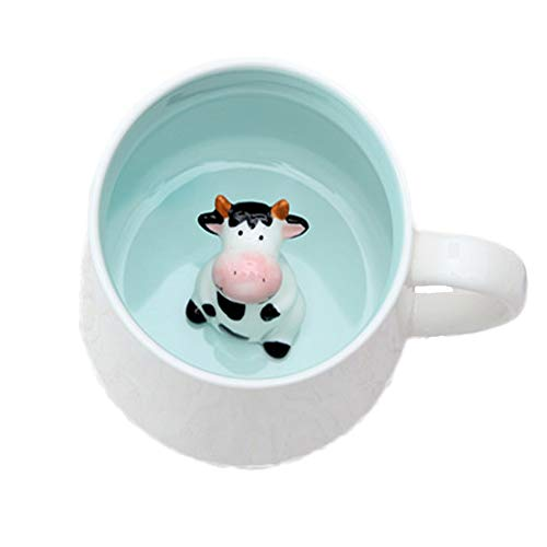 ZaH Coffee Mug Cartoon Animal Ceramic Cup Christmas Birthday Gift for Kids Boys Girls Cow
