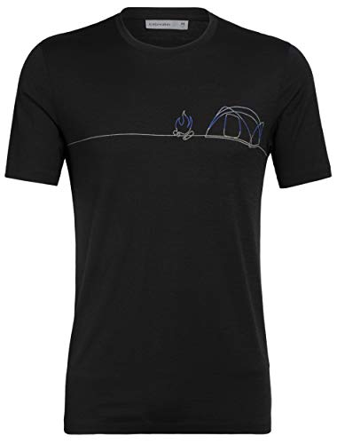 Icebreaker Herren Tech Lite Short Sleeve Crewe Single Line Camp, Herren, Tech Lite Short Sleeve Crewe Single Line Camp, schwarz, Large