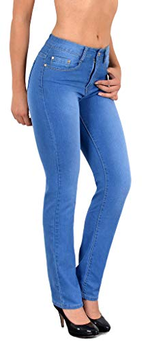 ESRA Damen Jeans Hose Damen Jeanshose gerader Schnitt Straight bis...