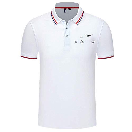 N\\P Herren Strickshirt Kontrastfarbe Kurzarm Umlegekragen Top atmungsaktiv Übergröße Sport Herren Gr. M, Wh