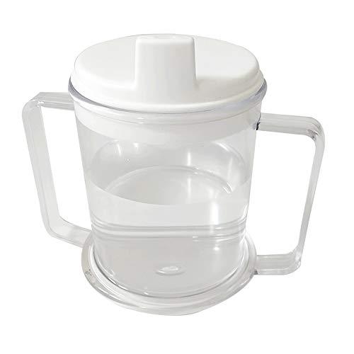 Bonarty Taza de Plástico Transparente Vaso para Sorber con Asas de 10 Oz. Vaso para Beber para Pacientes Ancianos