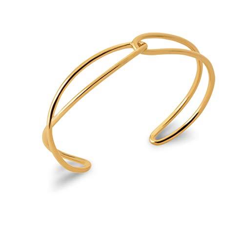 Tata Gisèle - Pulsera abierta bañada en oro de 18 quilates, 2 filas caladas entrelazadas, bolsita de terciopelo de regalo