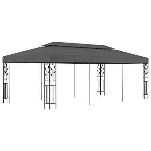 pedkit Gazebo Patio Sunshade Shelter, Outdoor Canopy for Dinners, Gatherings, Weddings, BBQ Parties, Camping 3x6 m Anthracite