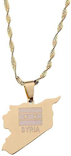GLLFC Halskette Edelstahl Gold Farbe Syrien Karte Flagge Vakuum Anhänger Halskette Syrer Charme Schmuck Geschenk für Frauen Männer