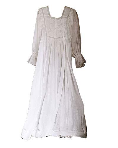 GuoCu Damen Vintage Süß Prinzessin Stil Nachthemd Langarmpyjama mit floraler Spitze Bestickt Nachtwäsche Lounge-Kleid Schlafkleid Einteiliger Schlafanzug Sleepwear Weiß L