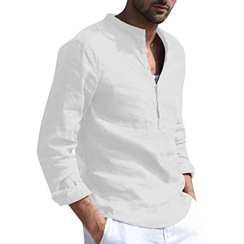TOFOTL Manica Lunga Tinta Unita in Lino Cotone Sciolto da Uomo Primavera, t-Shirt retrò con Bottoni(Bianca,L)