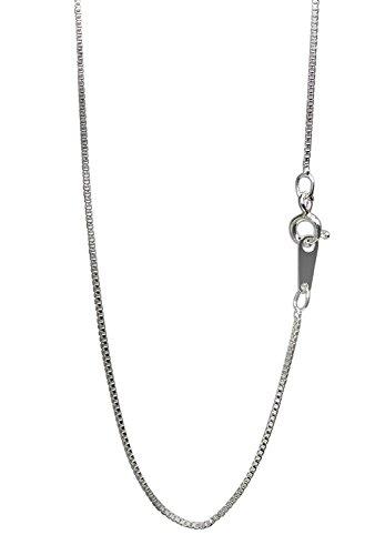 新宿銀の蔵 シルバー 925 ベネチアンチェーン 細め 長さ40~50cm (50cm) 幅0.9mm ロジウムコーティング ネックレス チェーン