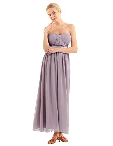 iEFiEL Elegant Damen Kleider festlich Cocktailkleid Chiffon Maxikleid Lang Brautjungfernkleid Abenkleider für Hochzeit Gr. 34-44 Dusty Mauve 38-40