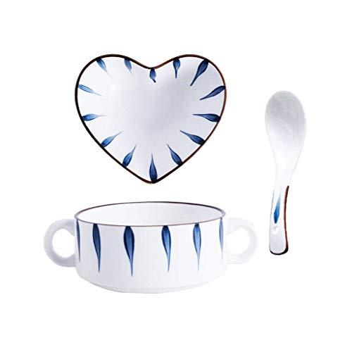 JLWM Zuppiera con 2 Maniglie, 400ML Zuppiere Ciotole in Ceramica Porcellana Forno Microonde Stile Giapponese per Colazione Dolce Budino-Bianco+Blu
