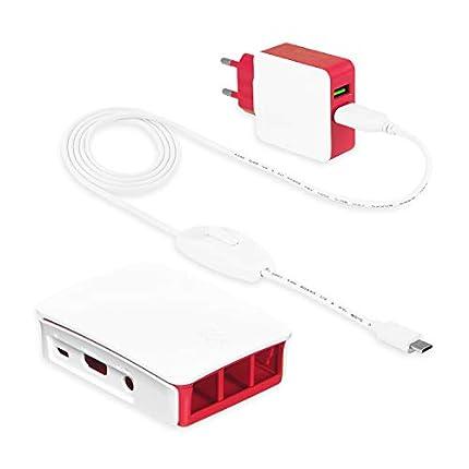 LEICKE Cargador 5V 3A 15W Fuente de alimentación para Raspberry Pi 3 /Pi 3 Modelo B+   con Carcasa Oficial para Raspberry Pi 3   2 Conectores Micro USB, Adaptador EU Cable de 1.8m Interruptor ON/Off