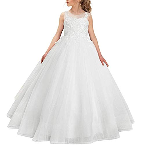 CQDY Flower Girl Lace Dress Embroidery Pageant Wedding Ball Gown for 2-11 Years Old Off-White