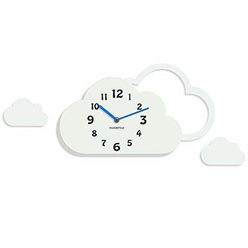 FLEXISTYLE Moderne Ultra leise Wanduhr Wolken für Kinder, Acryl, hergestellt in der EU