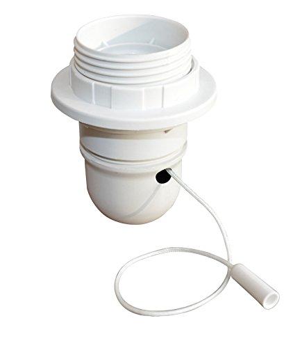 Tibelec 823010 - Casquillo para lámpara (con rosca, con interruptor con tirador y anillo, E27), color blanco