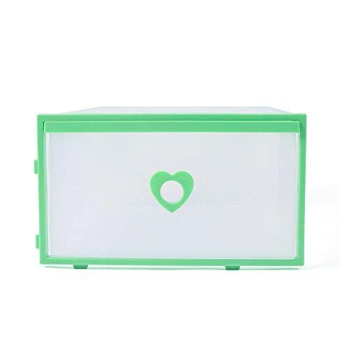 Cajas de zapatos transparentes para manualidades, de plástico, apilables, cajas de zapatos, cajas de zapatos plegables, cajas de zapatos, juguetes, herramientas, accesorios, 31 x 21 x 12 cm (verde)