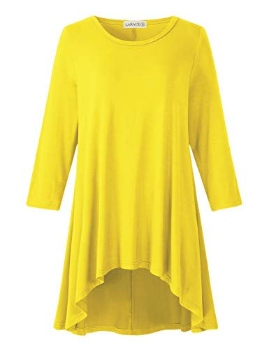 LARACE Womens Plus Size 3/4 Sleeve Loose Fit Flare Swing Tunic Tops Floral High Low Basic T Shirt, Yellow 2X