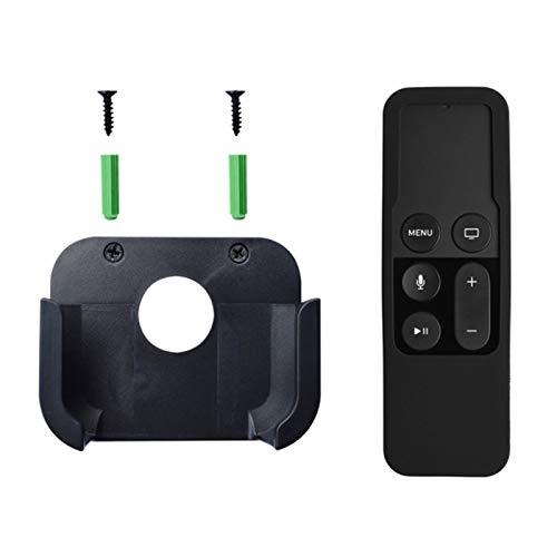 TabloKanvas Soporte de Control Remoto de TV Montado en la Pared con Caja de Protección de Control Remoto Siri de Silicona (Color : Black)