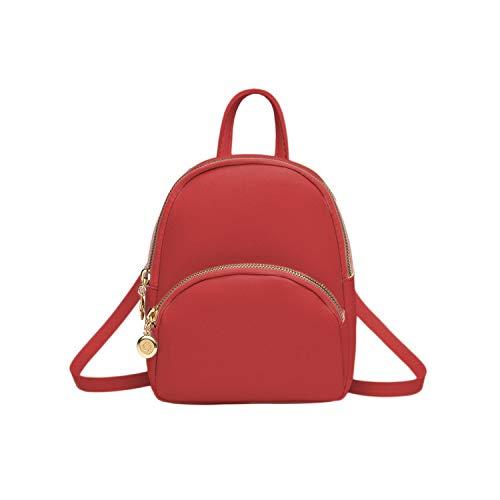 Hopereo - Mochila pequeña para mujer, de piel, multifunción, mini mochila escolar, bolsa para adolescentes, color Rojo, talla Talla única