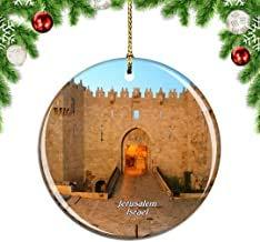 Kysd43Mill Israel Damast-Tor Jerusalem Weihnachtsbaumschmuck, hängende Ornamente, Keramik, Weihnachtsschmuck, Weihnachtsdekoration, Weihnachtsgeschenke